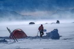 Winter camping in hard wind, Sarek