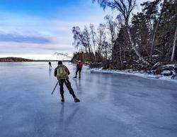 Long distance skating, Mälaren, Sweden