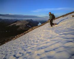 Climber on Sanjarcohkka, Kebnekaise mountains